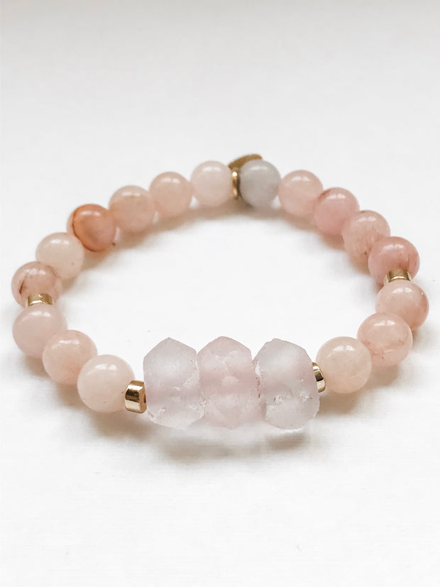 Pale Pink Java Glass + Cherry Blossom -- Ripple Freedom Bracelet