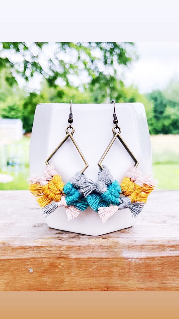 Teal + Mustard Multicolor Diamond Macrame Earrings