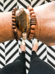 Tiger Eye + Wood Bracelet Stack -- (Set of 3)