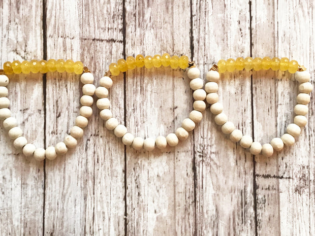 Yellow Moon Glass + Wood (Diffuser Bracelet)