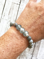 Smokey Grey Java Glass + Picasso Stone -- Ripple Freedom Bracelet