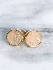Unicorn Dust + Gold Druzy Stud Earrings