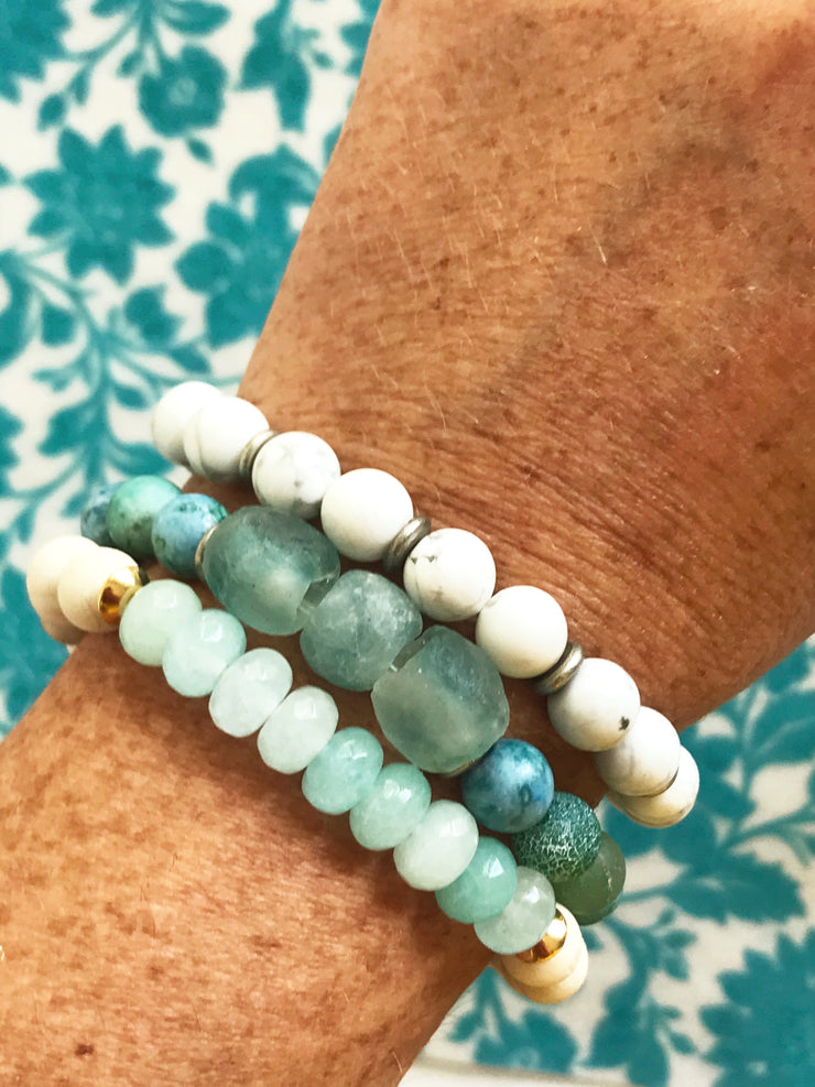 Blue Wave Java Glass + Agate -- Ripple Freedom Bracelet
