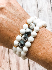 Jasper + White --  Bracelet Stacking Set (Set of 3)