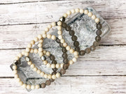 Smoky Gray Agate and Fossil -- Ripple Freedom Bracelet