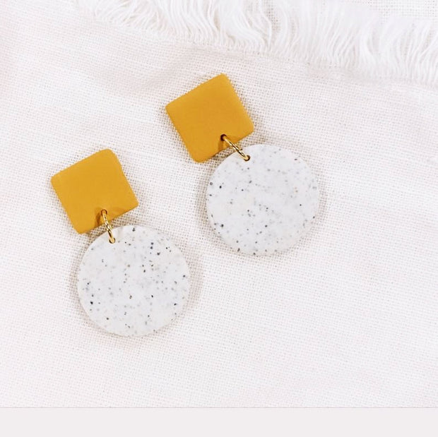 Mustard Yellow + Speckled White Dangle Earrings - Polymer Clay