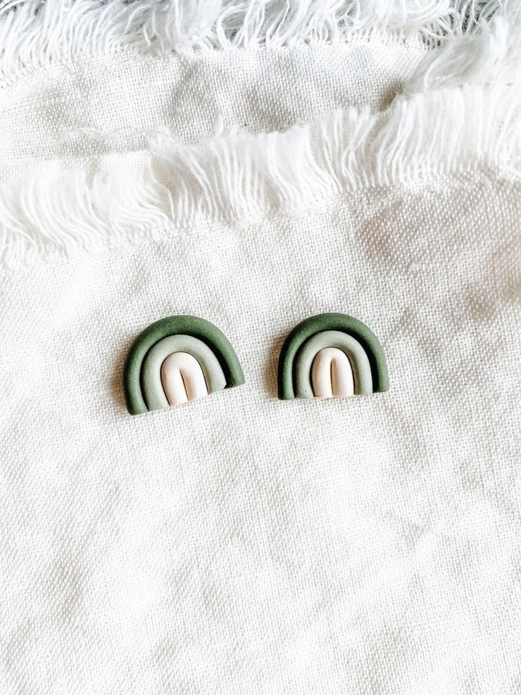 Olive Ombre Mini Rainbow Studs - Polymer Clay