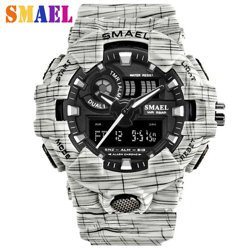 Men's Watches 2018 New Brand Smael Fashion Watch Men G Style 50m Professional Waterproof Sports Military Watches Shock Luxury Analog Digital Digital Watches