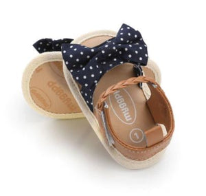Callie Sandals - Navy Polka Dot