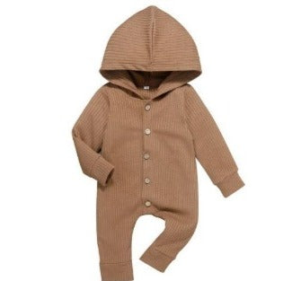 Ribbed Hooded Onesie - Brown