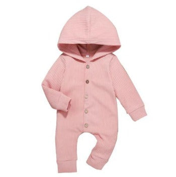 Ribbed Hooded Onesie - Pink