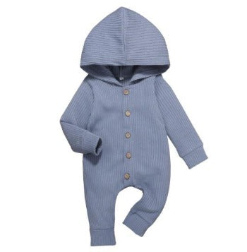Ribbed Hooded Onesie - Blue