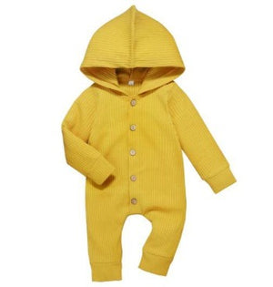 Ribbed Hooded Onesie - Yellow
