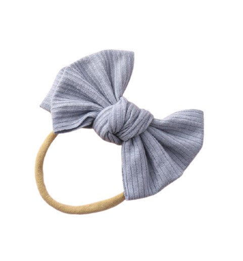 Ribbed Bow Headband - Grey