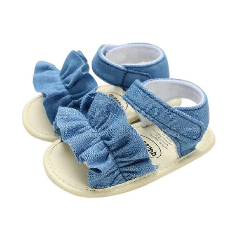 Esther Sandals - Denim Ruffle