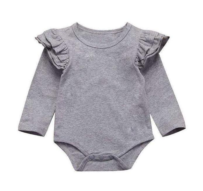 Long Sleeve Flutter Bodysuit - Grey