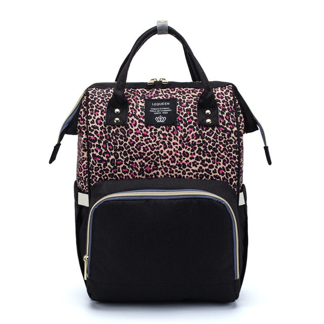 Deluxe Nappy Bag - Pink Leopard