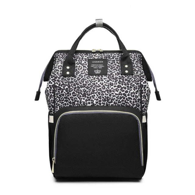 Deluxe Nappy Bag - White Leopard