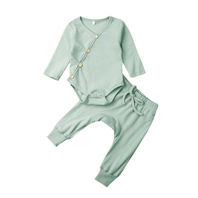 Basic Button Up Harem Set - Green