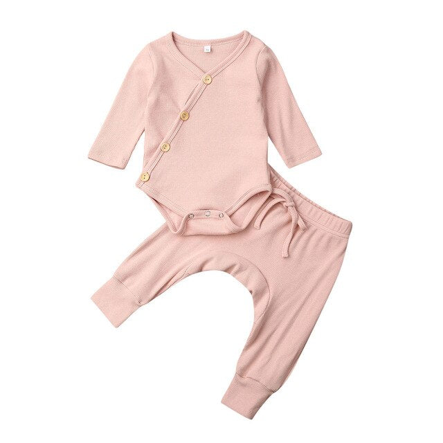 Basic Button Up Harem Set - Pink