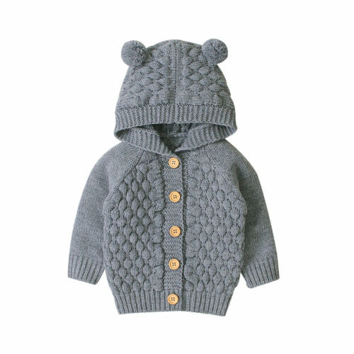 Baby Bear Cardigan - Grey