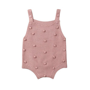 Spotted Knit Romper - Blush