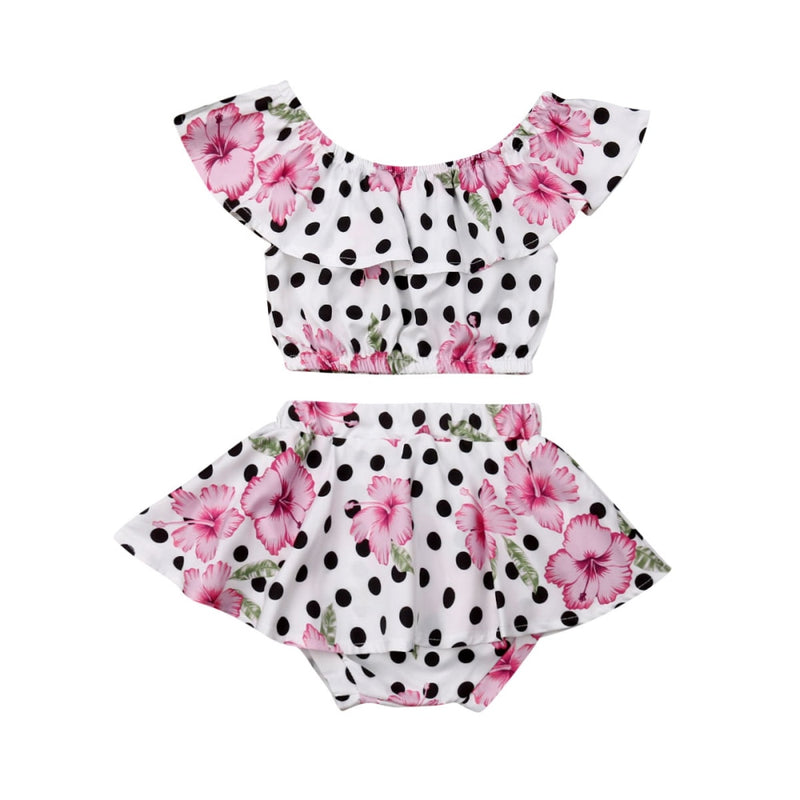 Pink Flower & Polka Dot Set