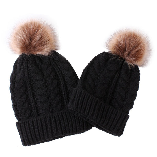 Mummy + Me 2pc Cable Knit Pom Pom Beanies - Black