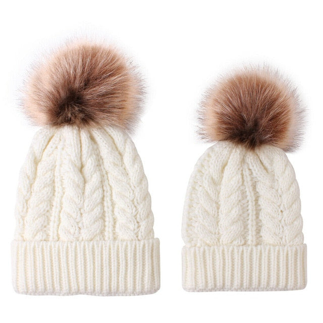 Mummy + Me 2pc Cable Knit Pom Pom Beanies - Cream