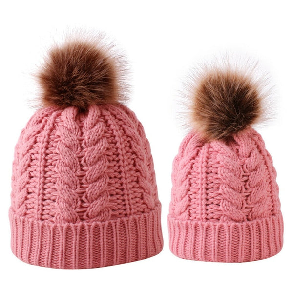 Mummy + Me 2pc Cable Knit Pom Pom Beanies - Pink