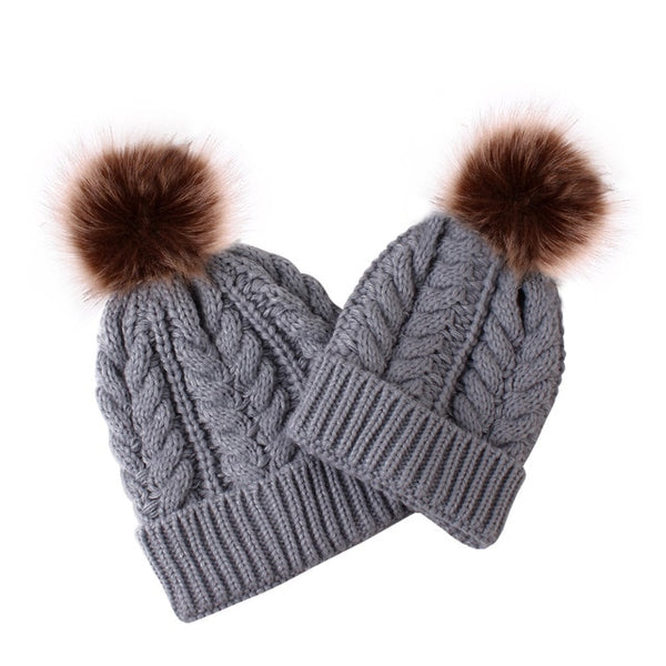 Mummy + Me 2pc Cable Knit Pom Pom Beanies - Grey