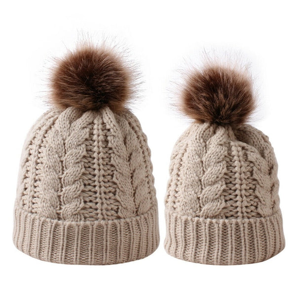 Mummy + Me 2pc Cable Knit Pom Pom Beanies - Beige