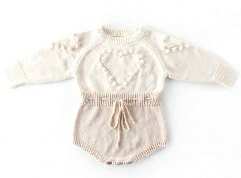 Willa Heart Knit Romper - Beige