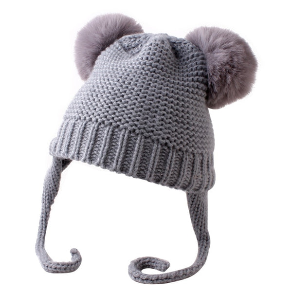 Knitted Pom Pom Beanie - Grey