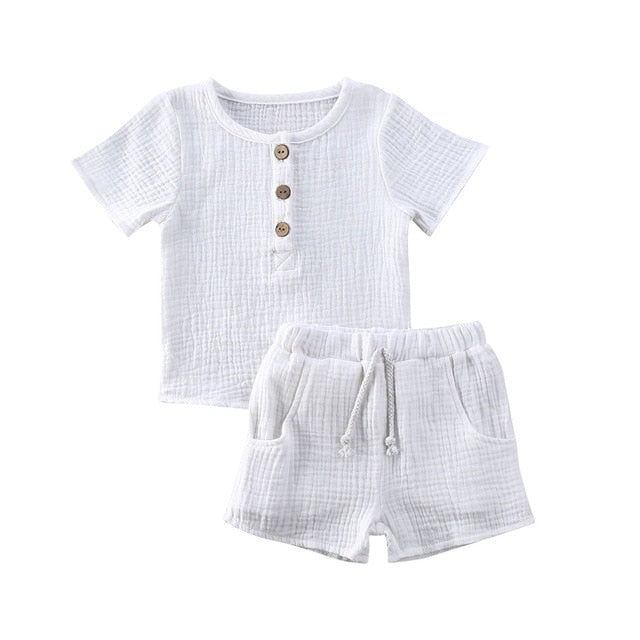 Basic Crushed Short Set - White