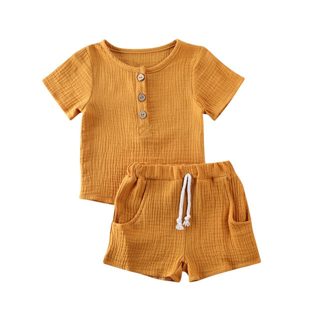 Basic Crushed Short Set - Mustard