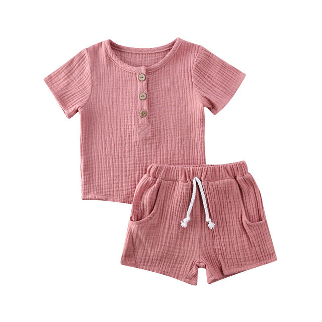 Basic Crushed Short Set - Pink