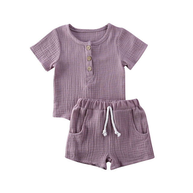 Basic Crushed Short Set - Purple
