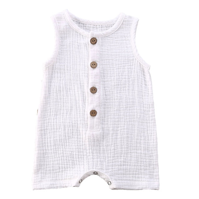 Crushed Cotton Onesie - White