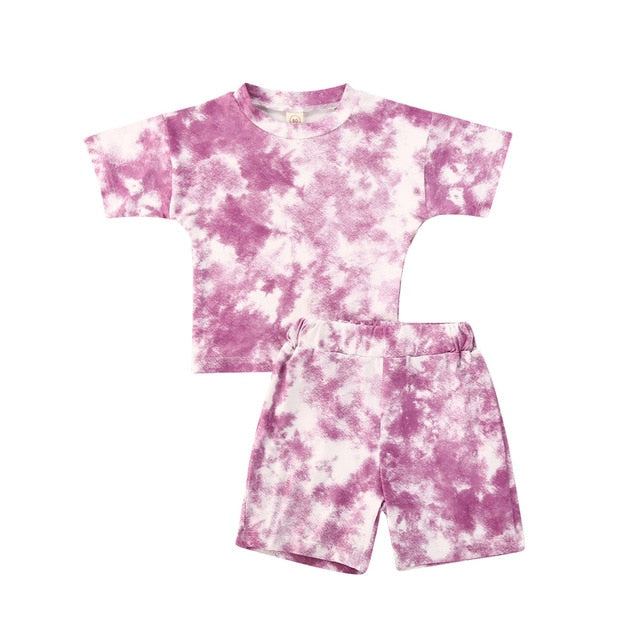 Tie Dye Short Set - Purple