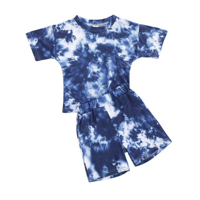 Tie Dye Short Set - Dark Blue