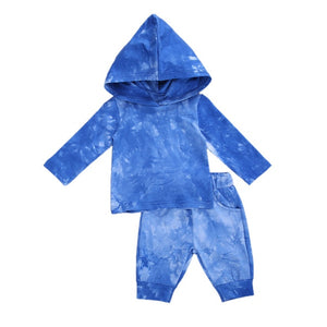 Hooded Tie Dye Set - Blue