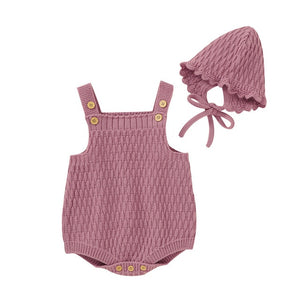Harper Knitted Romper + Bonnet - Purple