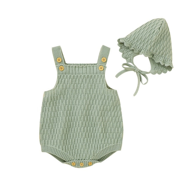 Harper Knitted Romper + Bonnet - Green