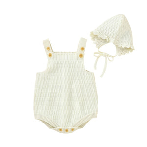 Harper Knitted Romper + Bonnet - Cream