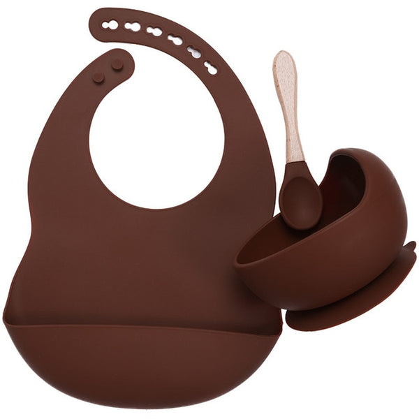 Silicone Bib + Suction Bowl - Brown