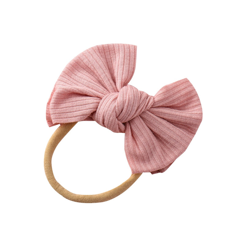 Ribbed Bow Headband - Pink