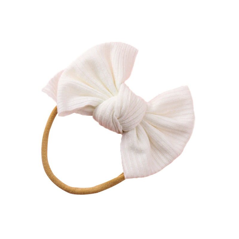 Ribbed Bow Headband - White