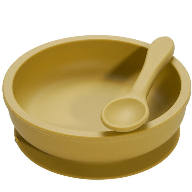 Silicone Suction Bowl + Spoon - Mustard