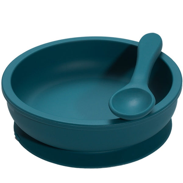 Silicone Suction Bowl + Spoon - Olive Blue